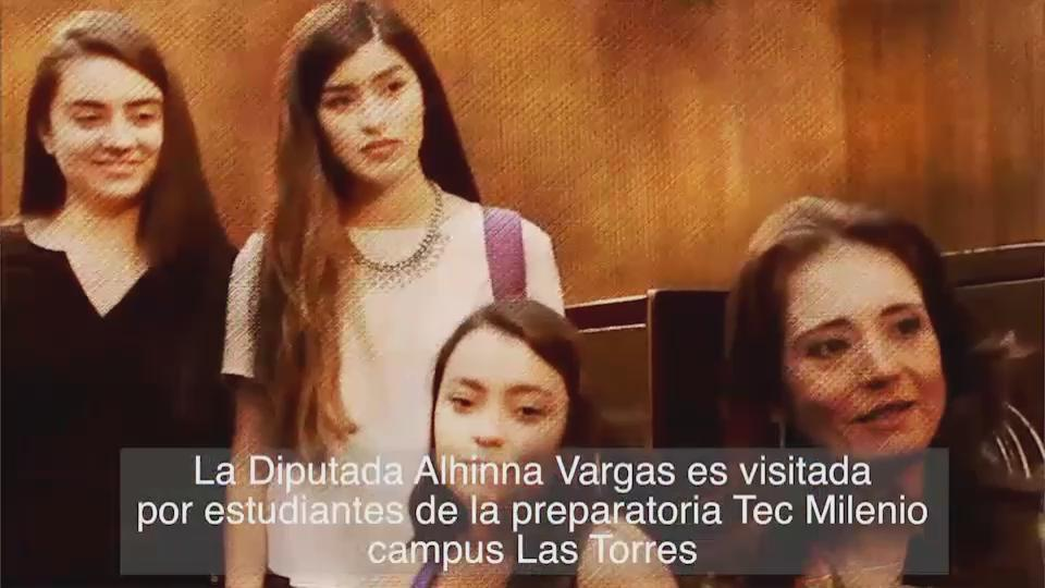 Alhinna Vargas (@AlhinnaVargas): Muy contenta de recibir a las chicas de la prepa del Tec Milenio. Todos son bienvenidos! #CongresoLaCasaDeTodos http://t.co/eHuZg4uOda
