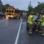 Crash on Prospect Road. Two people on bus and one person in car ok. No children on bus http://t.co/TFO1DdY8dK