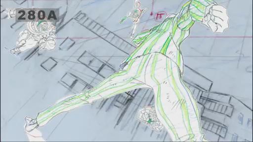 ☆「ワンパンマン」特集企画 ☆第1話 カット280 原画:亀田祥倫 襲い掛かる地底人ここでは1カットの紹介ですが、熱量の