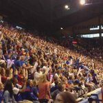 KU fans watch final out of #Royals game at Late Night. @royals @MCKCRoyals http://t.co/VbQ36Zn7CD