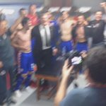 Captain @SrnaDarijo leads the celebration in Croatian dressing room after booking a place at @UEFAEURO. #BeProud http://t.co/VHDLc8U3Oa