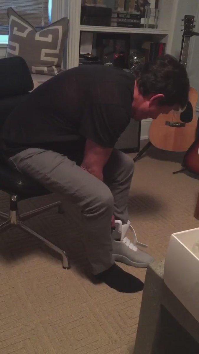Michael J. Fox models the first self-lacing @Nike Mag https://t.co/bgPWM5CKBE