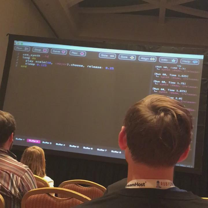 Learning how to make music with ruby and @Sonic_Pi with @darinwilson #rubyconf https://t.co/37kbR4ZyxV