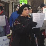 """Dozens gather downtown #ROC to protest @louiseslaughters """"yes"""" vote to the American Safe Act of 2015 @TWCNewsROC https://t.co/iY1ql1VGyB"""