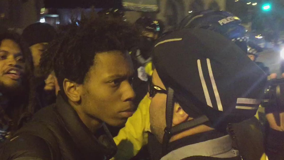 Police and protesters face of in Chicago after video of #LaquanMcDonald's murder was released #16bullets https://t.co/RSER5vx2O7