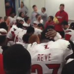Coach Petrino celebrates with his team after the win over UK https://t.co/j8qG73aGT5