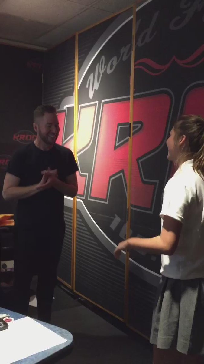 """What happens in the @KROQ studio when I play @twentyonepilots """"Stressed Out""""? The handshake!"""