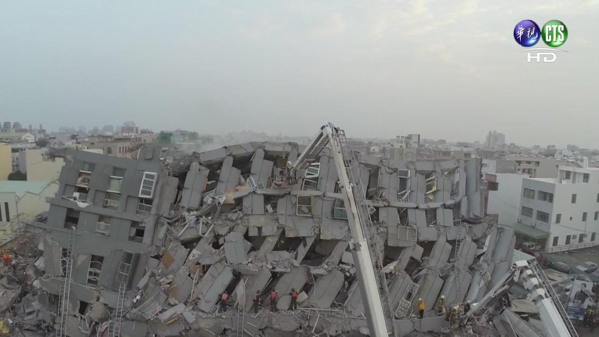 Drone footage of 17-storey building in Tainan that collapsed during #taiwanearthquake https://t.co/aCggOo3XCB