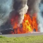 Driving back to Panama City on 231 and northbound traffic is stopped because of this car on fire. @wmbbnews https://t.co/bKGbGuX8dz