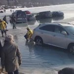New video: cars parked on lake, then fell through ice at Winter Fest in Lake Geneva today. Courtesy Kathy Nalbert https://t.co/4WOmE9WKSw