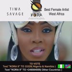 @TiwaSavage for @kora_awards Best Female Artist - West Africa. Voting details on the video #TiwaSavageKoraAwards https://t.co/g2zH78smSh
