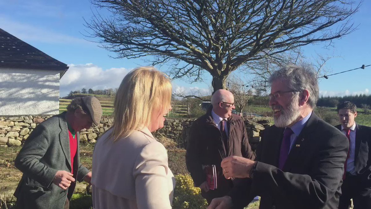 Dancing at the crossroad @GerryAdamsSF dances with Mayo candidate @conwaywalsh in Killasser Mayo #ge16 @rtenews https://t.co/cS2AKtqIfy