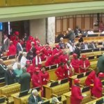 #SONA2016 EFF MPs arrive in the national assembly. https://t.co/lEBVVCRO8Q