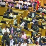 Amd then this happened.Cope leaves the house after its leader Terror Lekota interrupts Zumas speech. #SONA2016 #yj https://t.co/vXS5FQ4J2F