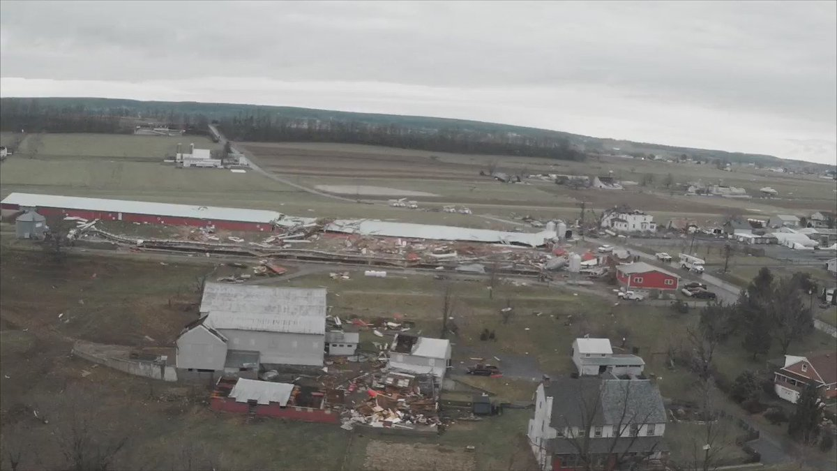 Aerial footage shows the damage from the possible tornado that swept through the Gap area in Lancaster County https://t.co/4Eq6S6Mo3L