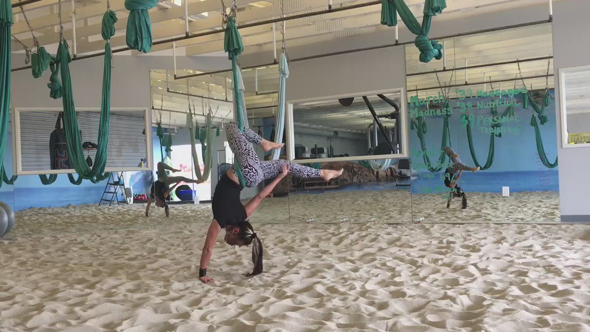 Freestyle #aerialyoga when no class in the sand studio at @bajabody #bajababes #yoga #aerial #oceanside