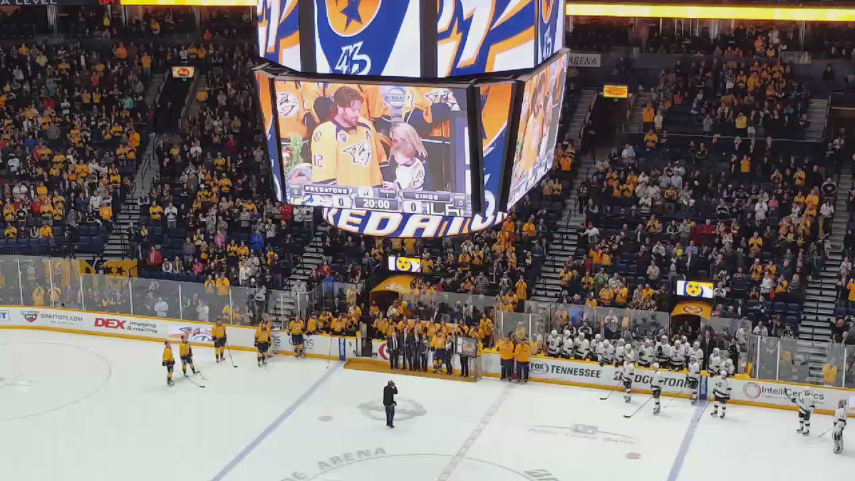 Video of Mike Fisher and his family while being honored. #Preds https://t.co/sw45bxBmft