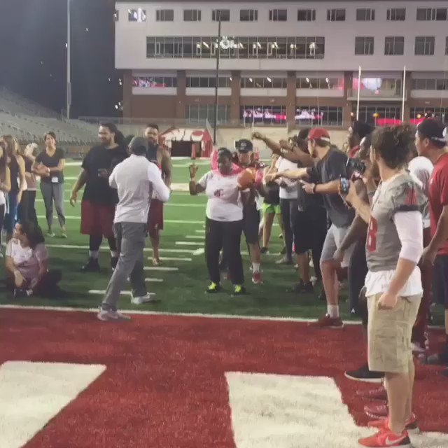 My mom killed it tonight at the women's football clinic! This is her touchdown celebration! @wsucougfb https://t.co/4vg9CIiSXM