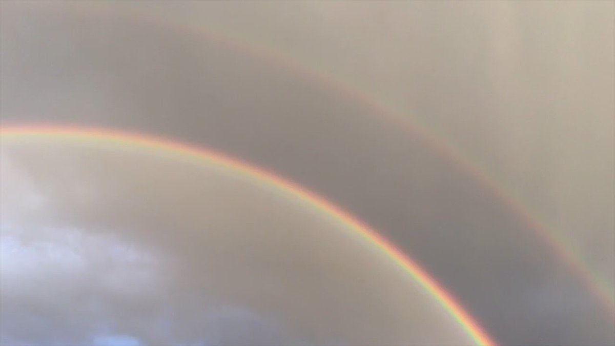 Double Rainbow!!  (In my hotel parking lot outside @GrandCanyonNPS).  #OnTheTrail @CBSSunday https://t.co/HYsm1bavvV