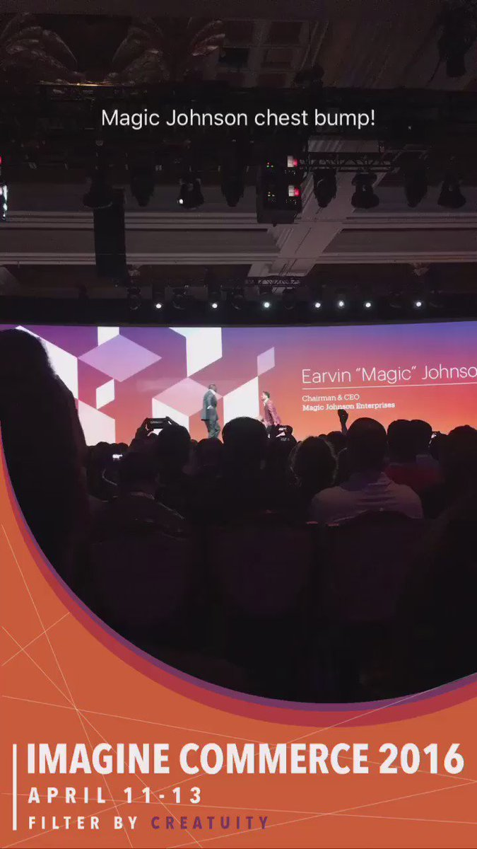 kristinemcnerdy: .@MagicJohnson chest bump welcome at  #MagentoImagine https://t.co/iYOHBU80rF