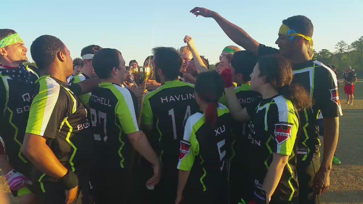 .@QCBoston raises the trophy after winning #QuidditchCup9! https://t.co/8SNU1CG3WI