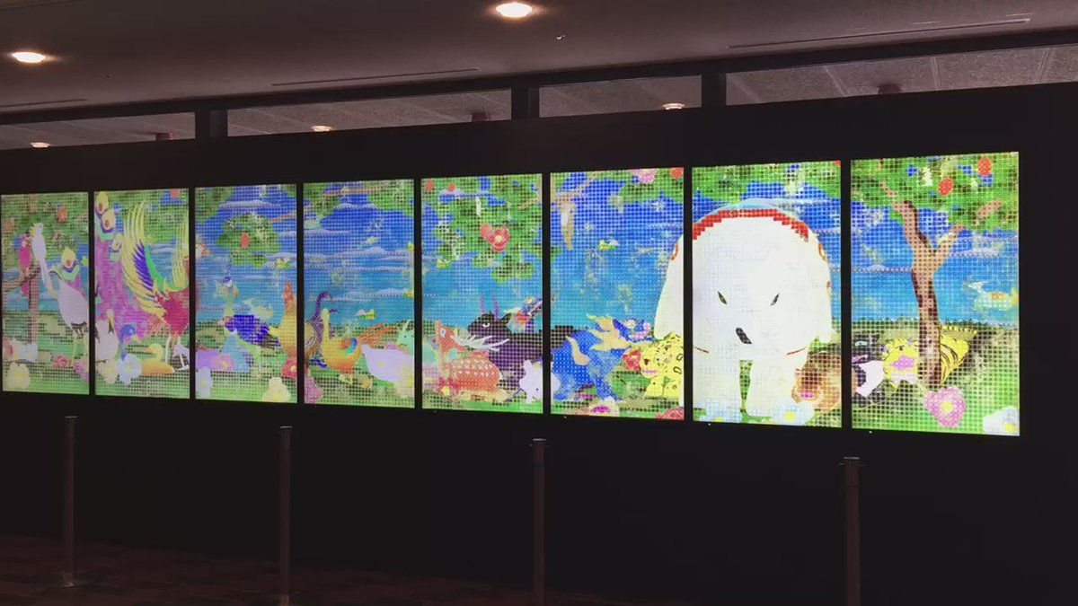 東京都美術館。若冲展内覧会だん。4.22〜5.24。過去観てきた作品達が大集合で同窓会的な懐かしさ!承天閣美術館以来の動植綵絵、釈迦三尊図の邂逅は得難い。改めて仏教的な視座を感じた。猪子さんのNIRVANAもドット絵の感じが楽しい https://t.co/ldS46nrrKe