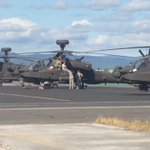 #RIGHTNOW Several military helicopters in Medford fueling before heading out for training. @KDRV https://t.co/qTviKp2fB9