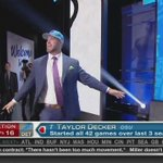 Taylor Decker just O-Hd the crowd after getting picked by the Lions #ForeverABuckeye https://t.co/FQ4hLrvAvF