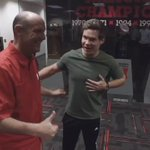 .@Coach_Riley showing @ADAMDEVINE the hardware today.   🔴🌽✊ #GBR https://t.co/28ZdLL950D