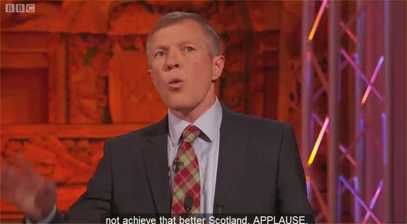 And the crowd goes wild. @willie_rennie calls on Nicola Sturgeon to respect the result : #leadersdebate https://t.co/efB6MfZqYB