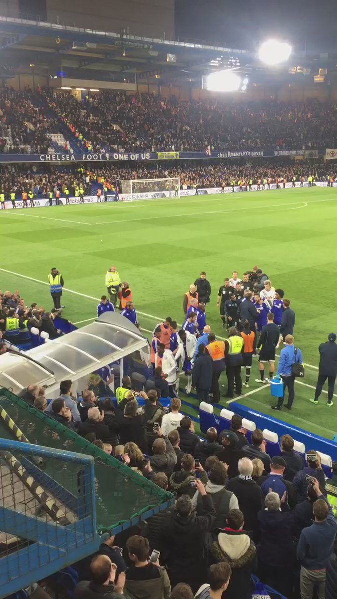 Guus is knocked over in the melee at the end of the #Cfcvspurs game https://t.co/ZnOkswW2jv