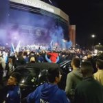 Leicester City fans are already partying outside the King Power Stadium. https://t.co/Jq4Bc3q3kV