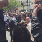 """#hungerforjusticeSF march stopped briefly at Market and South Van Ness, where a woman sang """"A Change is Gonna Come"""" https://t.co/Amtmv0QbRj"""