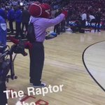 Purple Shirt Raptor was trying to get under Dwyane Wades skin before tip-off. https://t.co/SlPOZGHsgg