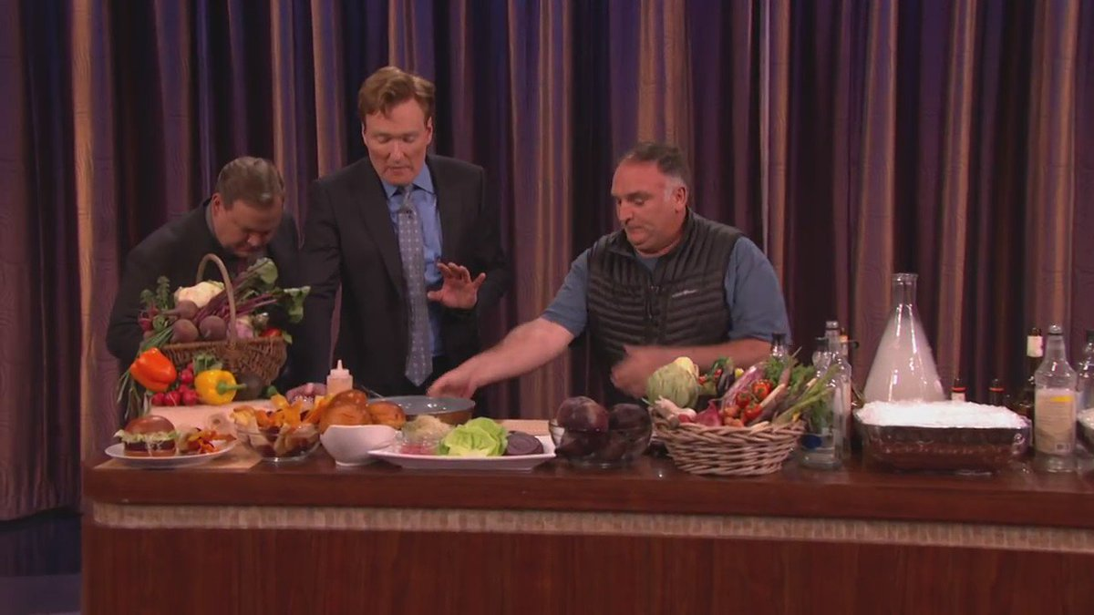 For those that missed it @chefjoseandres was on @ConanOBrien making him his famous Beet Burger! #slshotel #teamcoco https://t.co/EFPdmsLMTs