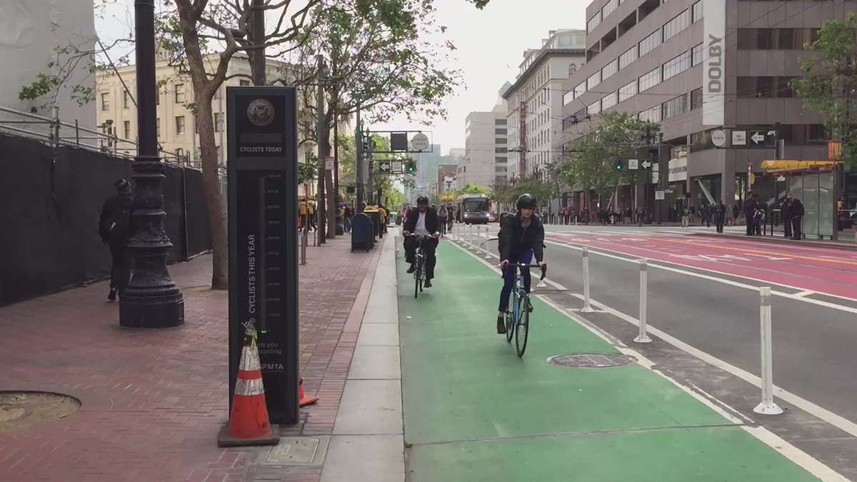 Bike to Work Day! @sfpublicworks and District 10 riders passing the bike counter on Market Street #BTWD https://t.co/LXHsQ5o2fx