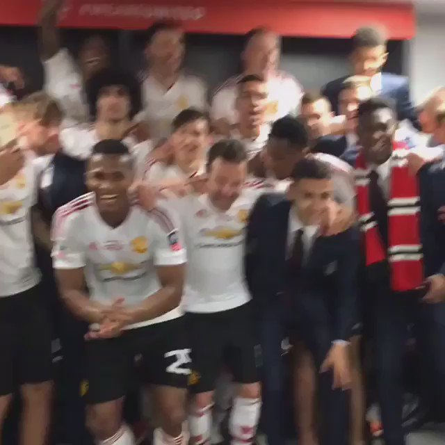 U-N-I-T-E-D, United are the team for me! Celebrations in the dressing room after #FACupFinal win https://t.co/vnwwqVktuV