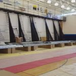 The bleachers are loaded into the gym and ready to be assembled. #GoSkyhawks #eighteenmoredays https://t.co/YHjyeVKjiH