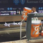 """In the words of @SalvadorPerez15, """"Welcome to the show, @Brett_Eibner!"""" 💦 #SalvySplash https://t.co/bupT3yshId"""