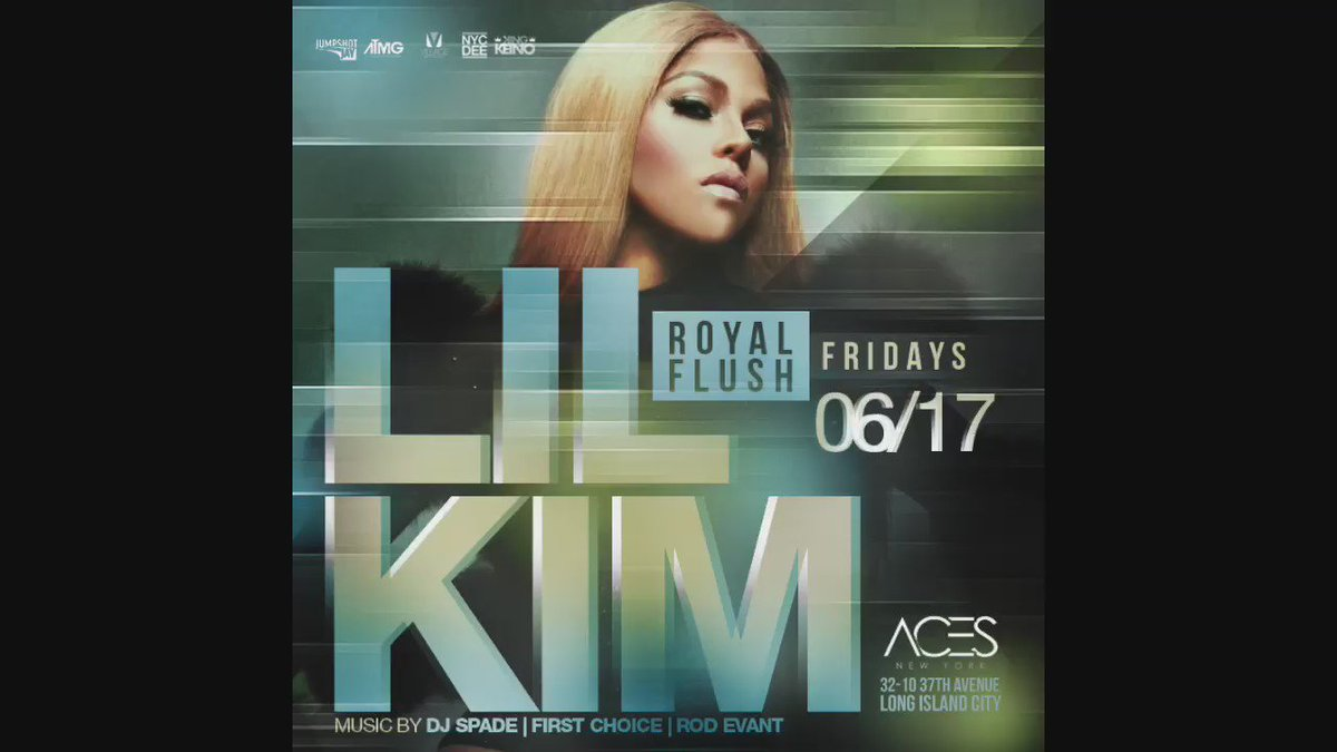 FRIDAY JUNE 17th ROYAL FLUSH FRIDAYS AT ACES : HOSTED BY LIL KIM LIVE !!  MUSIC BY DJ spade & DJ first choice https://t.co/0pHE4XhMUA