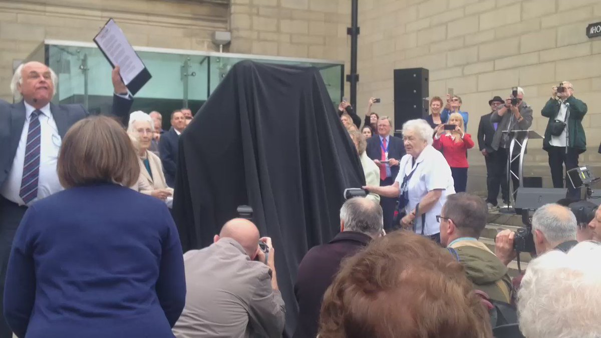 And here it is! The unveiling of the new Women of Steel statue in #Sheffield https://t.co/nf6lRuGHcf