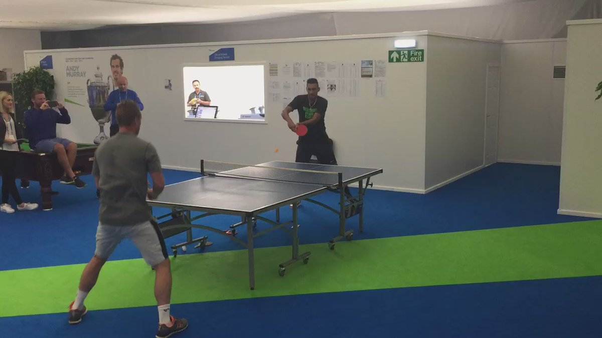 Meanwhile, in the players' lounge...  @LleytonHewitt vs. @NickKyrgios   We join it with Kyrgios leading 20-18. https://t.co/vnNC8lQL1V