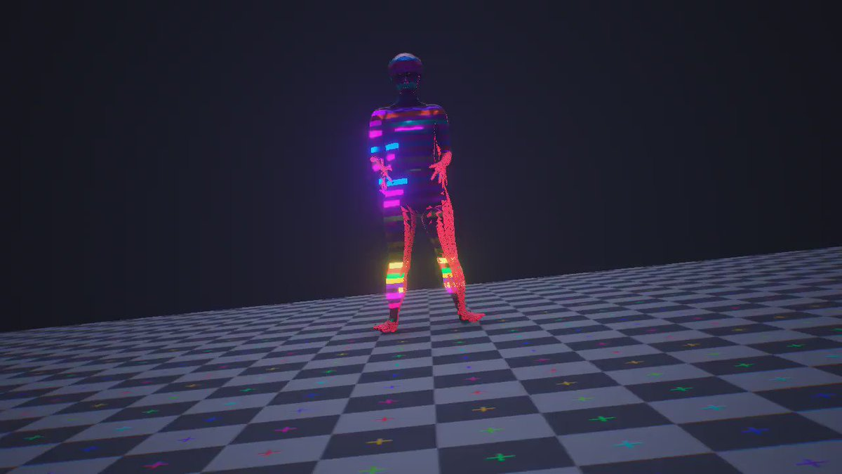 Tinkering around some shaders with a dancing animation #unity3d https://t.co/puV4qLo08s