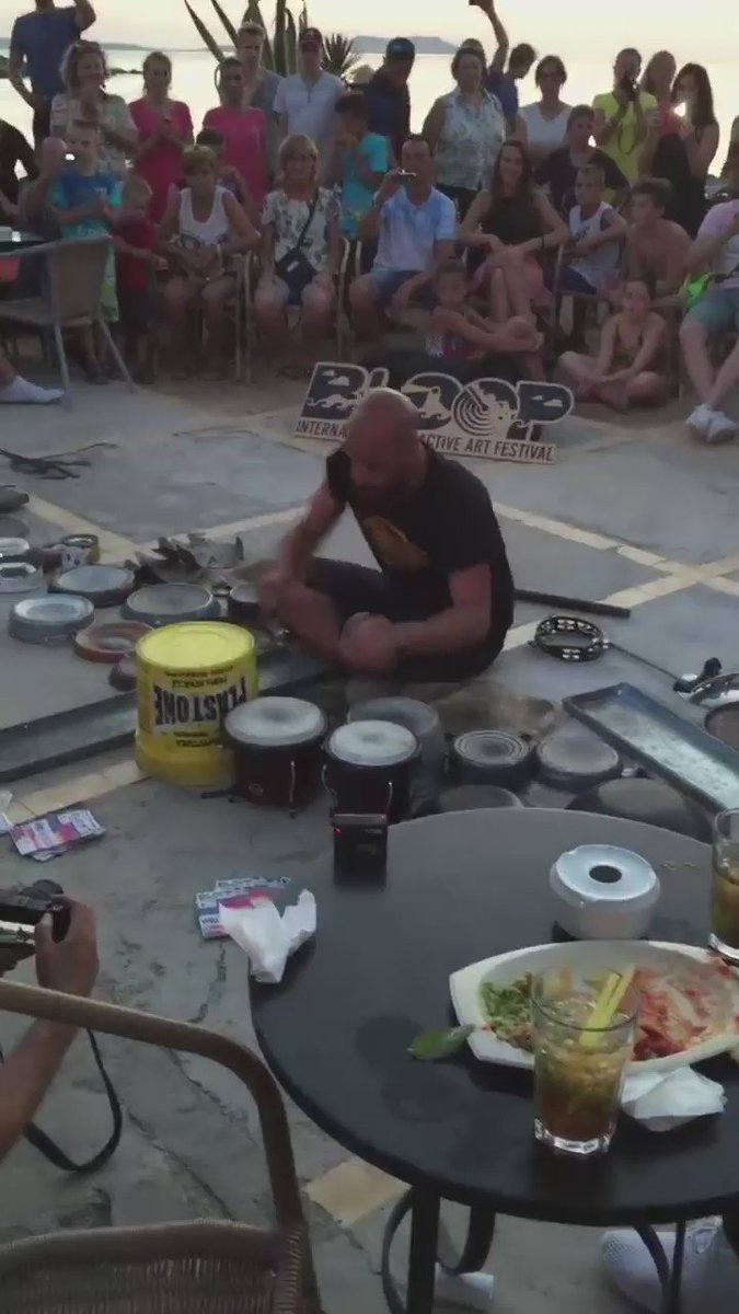 Wow!!!! Watch this guy in Ibiza play Techno with just pots, pans, buckets and some drums!!! This is talent https://t.co/mSZx3EYkSu