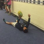Even lying down, the ball still finds its way to the Bearded One. #AFLSaintsCats https://t.co/Jb3qomPCLm