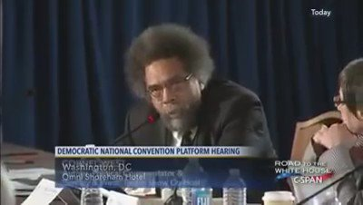 A fearless @CornelWest touches the third rail. No more kowtowing to lobbyists for incremental change. #DemPlatform https://t.co/A2LpeElQQi