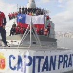 Los marinos de la Fragata Prat de @Armada_Chile se hicieron presente enviando su arenga a @LaRoja. #VamosChileCarajo https://t.co/AYSJu0u5qn