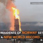 #Viral #Weather Video of the Day: Residents in Norway, built the worlds largest bonfire, standing at 155.5 feet! https://t.co/hxZYAPMmkQ