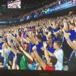Iceland players, celebrating with the fans. They are a unit. #EURO2016 https://t.co/iIro9B2iKM