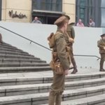 Soldiers on the steps of the Mailbox to mark the centenary of the Battle of the Somme. #WeAreHere https://t.co/3PCnnLV9Il